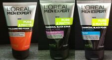 3x 100mL LOREAL MEN Face Wash Volcano Red Foam CHARCOAL BLACK SCRUB MENTHOL ICY