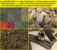 ALLROUNDER MIX = 6 x 25gr Futtersticks, 50gr Erlenzapfen, 10 SMBB, 1 Vuka Cholla