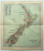Original 1895 Map of New Zealand by Dodd Mead & Company. Antique