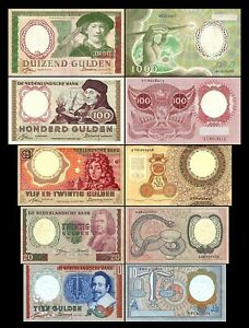 2x  10, 20, 25, 100, 1000 Gulden - Edition 1953 - 1956 - Reproduction - NL 04