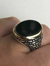 Твердое 10k золото и серебро 925 черный оникс мужской большой размер кольца 7-13 Пинки