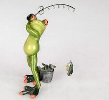 717764 Frosch Angler hellgrün 20cm aus Kunststein mit witzigen Details