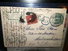 #9218,Art Nouveau Woman w Superb Postal Markings,Postage Due 1909