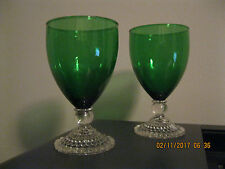 Set of 2 ANCHOR HOCKING Forest Green INSPIRATION Drinking Glass,Holds 9 oz,1940s