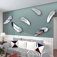 Creative 8pcs Feather Designed 3D Mirror Craft Kid Child Wall Stickers