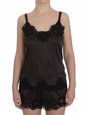 NEW $680 DOLCE & GABBANA Brown Silk Stretch Lace Top Lingerie Cami IT1 / US XS