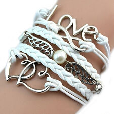 Hot DIY Love Heart Wing Pearl Jewelry Leather Charm Bracelet for Girl Women Lady