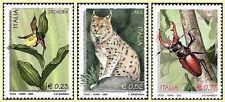 # ITALIA ITALY - 2002 - Orchid  Lucanus Cervus  Lynx Cat Feline Set 3 Stamps MNH