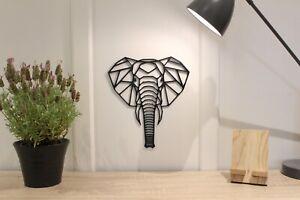 Geometric Elephant Head - Wall Art Decoration Hanging Animal Colour Black/White
