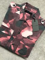 "ALL SAINTS RED ""GUNJIN"" CAMOUFLAGE LONG SLEEVE SHIRT TOP - XS & S - NEW & TAGS"