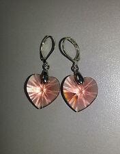Ohrringe silberfarben mit Swarovski Elements Herz Rose Peach rosa
