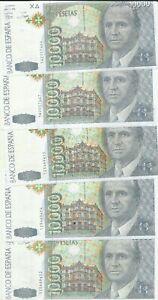SPAIN LOT 5x 10000 PESETAS 1992  P 166. FAKE NOTE. FALSE NOTE. UNC CONDITION