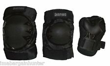Youth, Mens, Ladies, Skate Cycle Knee Elbow Palm Protection Gear Pads - Black