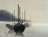 Boats in the Mist by W. Shotei. Oriental Repro Made in U.S.A Giclee Prints