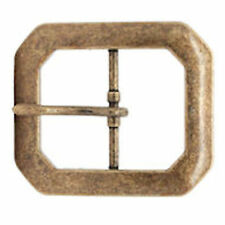 """Antique Brass Plated Clipped Corner Belt Buckle 1-1/2"""" 1587-09"""