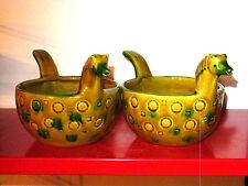 Vintage 70s Italian Ceramic Horse Bowls era Aldo Londi Bitossi Fratelli Gambone