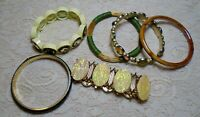 VINTAGE TO NOW ASSORTED GREEN & YELLOW GLASS & LUCITE BEADED BRACELET LOT