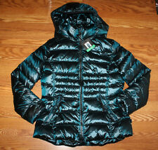 NWT Womens ANDREW MARC Amazon Green Hooded Puffer Duck Down Jacket Coat S Small
