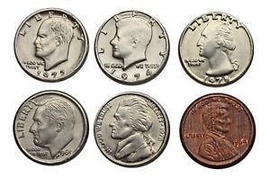 Mini Novelty Inflation Coin Set, Dollar, Half Dollar, Quarter, Nickel, Dime Cent