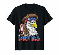 Black Eagle Mullet Merica Shirt Men 4th of July American Flag USA 100% Cotton