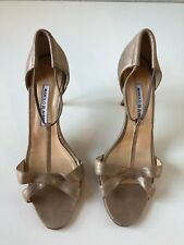 Manolo Blahnik T-strap Gold Leather Heels EUR SZ 40