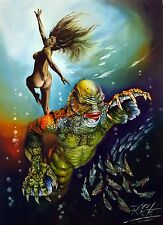 creature from the black lagoon. A.4 PRINT in black frame ).BY rick melton.