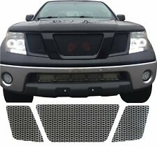 CCG GLOSS BLACK PERF SS PRECUT MESH GRILL SET FOR 2005-08 NISSAN FRONTIER GRILLE