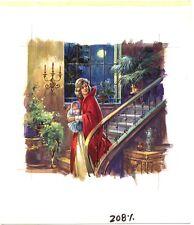 Originalzeichnung Titelbild Romanheft OLIVIA  Handzeichnung 1978 Bastei Treppe