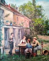 """MASTERPIECE """"TEA ON A SUNNY DAY"""" OIL ON CANVAS by Mississippi artist Guy Foster"""