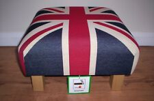 """""""Stunning""""Union Jack Footstool In Heavy Tapestry Fabric,With Chunky Legs,L@@K!!"""