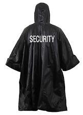 Black SECURITY Rain Poncho Coat Vinyl Hooded Waterproof Outdoor WeatherJacket