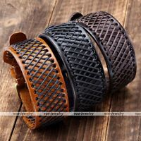 Punk Hemp Braided Genuine Leather Mens Belt Wristband Bangle Bracelet Cuff Gift