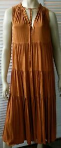 COUNTRY ROAD ladies size 14 dress brown prairie pleated layered summer