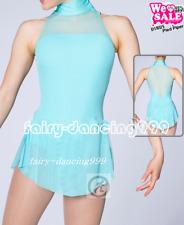Spandex Competition Skating Wear Handmade Fashion Sleeveless Training blue p907
