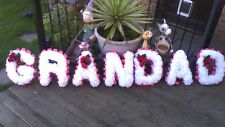 ARTIFICIAL FUNERAL  FLOWERS GRANDAD -IN WHITE ANY 7 LETTER NAME MADE TO ORDER