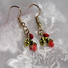 Ohrringe Blatt grün Tropf Knospe Blume Rose rotes Herz Geschenk L2