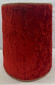 Vintage Mid Century MCM Red Velvet Flocked Drum Lampshades Light Lamp Shade