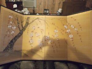 VGUC Silk Byobu Artist Signed Hand Painted on Both Sides 4-Panel Folding Screen