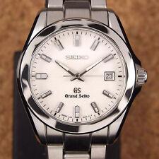 Authentic Grand Seiko Date GS Ref.8J56-8020 White Dial Quartz Mens Watch