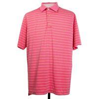Peter Millar Summer Comfort Mens L Pink Stripe Polo Golf Shirt