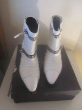 WORN ONCE IN GIUSEPPE ZANOTTI WHITE LEATHER SINCLAIR BIKER ANKLE BOOTS SIZE 39/6