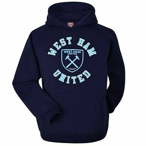 Official West Ham United Football Crest Hoodie (Adults Unisex Sizes S to 2XL)