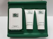 LACOSTE ORIGINAL edt 50ml spray + 2×50ml gel de ducha , classic, old formula.