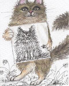 Maine coon cat artist orig ACEO ATC scribble art painting portrait Susan Alison