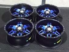 "14"" STI HD7 BLUE ATV WHEELS SET 4 LIFETIME WARRANTY POLARIS RZR 570 / 800 3CA"