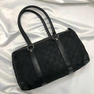 Gucci Boston Bag Monogram Black Cloth Logo Handbag with Dustbag - Authentic