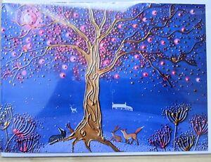 greetings card birthday tree of life hare badger moon fox pagan solstice equinox