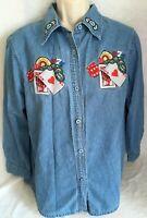 Passion-1 Poker Chip Denim Shirt Long Sleeve Cotton Vintage XL Casino Gambling