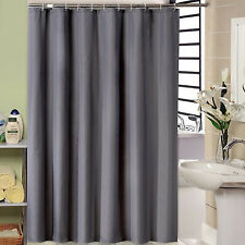 Grey Bathroom Waterproof Plain Shower Curtain With Hooks Set Mildew Resistant