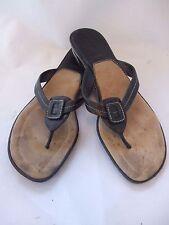 COLE HAAN Nike Air Black & Tan Leather Top Stitch Detail Flip Flop Sandals  8.5